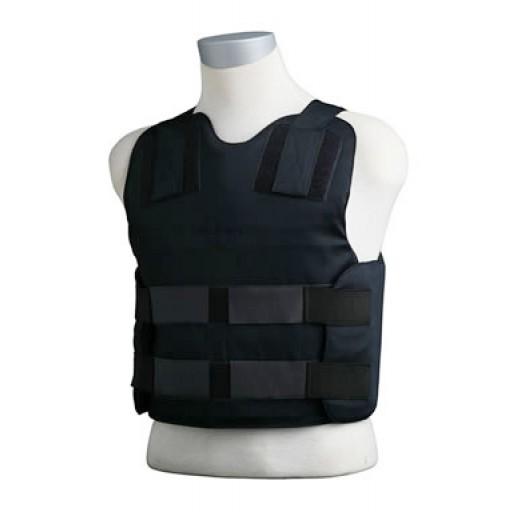 Exemple Gilet pare balles : Protection balistique de la cage thoracique, cœur, poumons, foie, reins et colonne vertébrale.